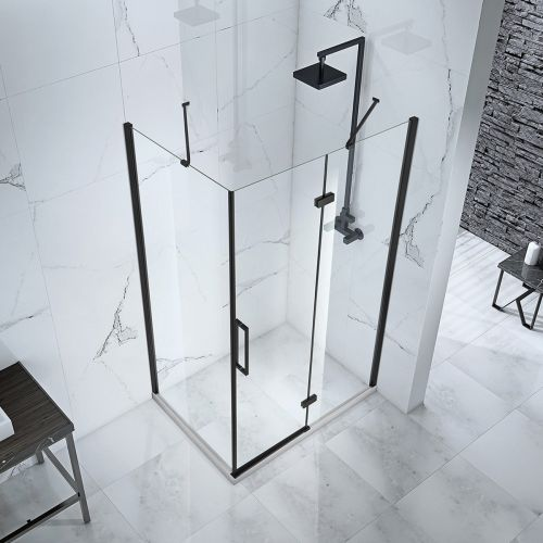 Above view of the Aquaglass hinged door with fixed panel