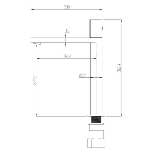 Aquaglass velar tall basin mixer technical drawing