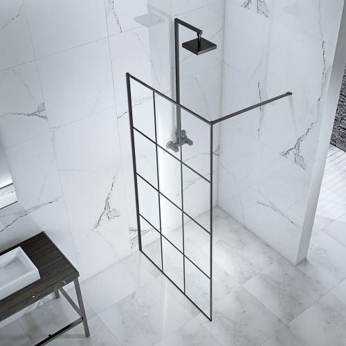 Aquaglass Velar+ Crittall Walk In Shower birds eye view - shown without towel rail