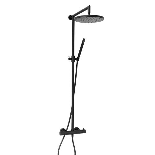 Aquaglass Demm Matt Black Thermostatic Shower Column Set