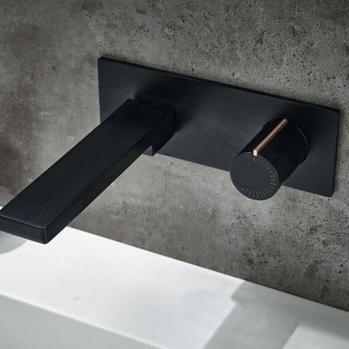 Aquaglass Velar Black Wall Mounted Basin Mixer Tap