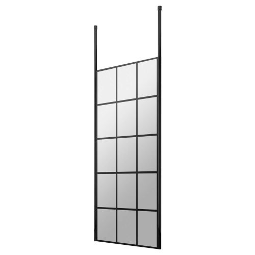 Hudson Reed black frame shower enclosure with floor to ceiling posts