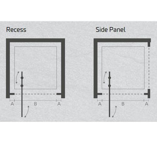 Jaquar Black Infold Shower Door technical drawing