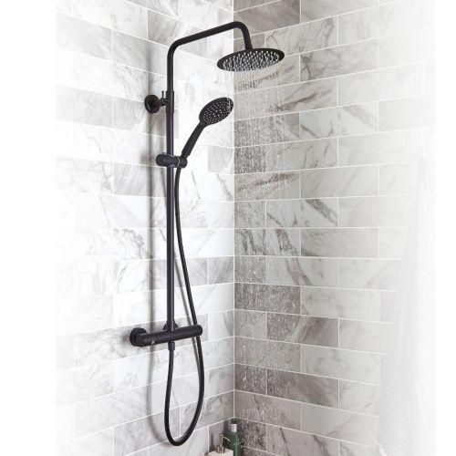 KVIT Nero Black Round Shower Mixer & Slider Rail Kit