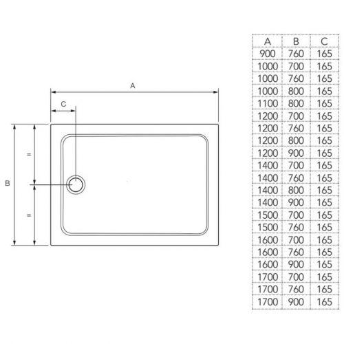 Mira Flight rectangular shower tray technical drawing