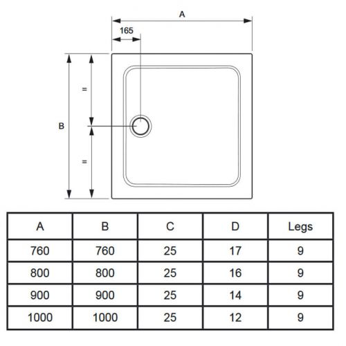 Mira Flight Safe technical drawings for square shower trays