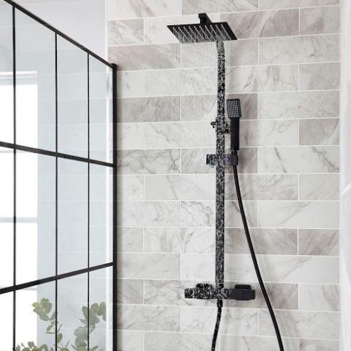 KVIT Nero Black Square Shower Mixer & Slider Rail Kit