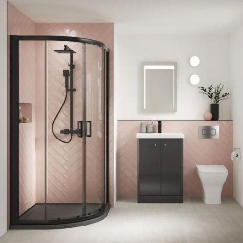 Nuie Pacific Quadrant Black Profile Shower installed in corner of ensuite bathroom