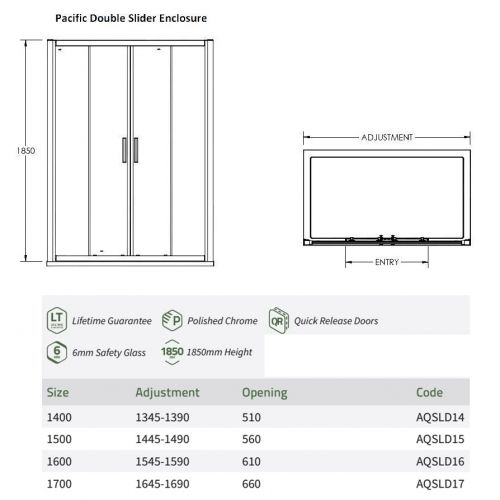 Nuie pacific premier bathrooms double sliding door tech