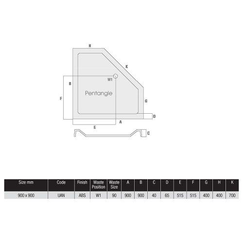 Phoenix Idyllic Shower Tray Technical Drawing