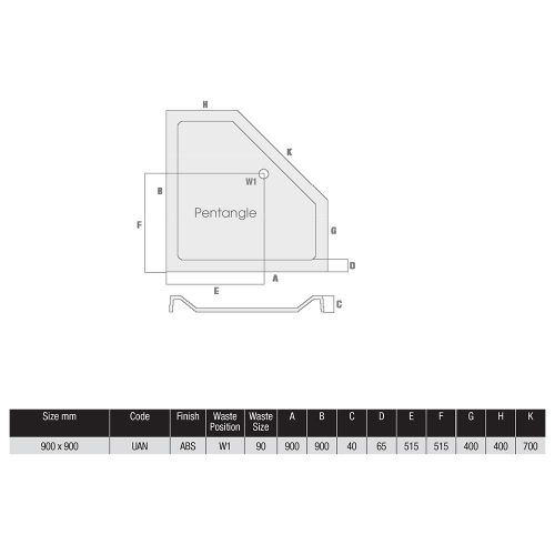 MX Shower Tray Technical Drawing