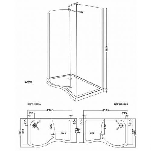 Premier Aegean AQW curved walk in shower enclosure technical drawing