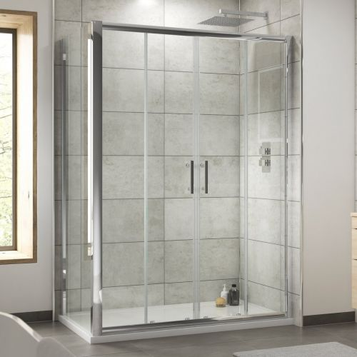 Premier pacific double sliding door with side panel