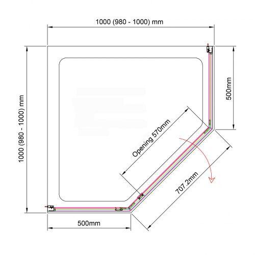 Aquaglass purity 1000x1000 technical drawing