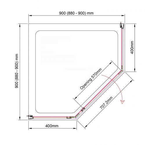 Aquaglass 900x900 purity pentangon enclosure technical drawing