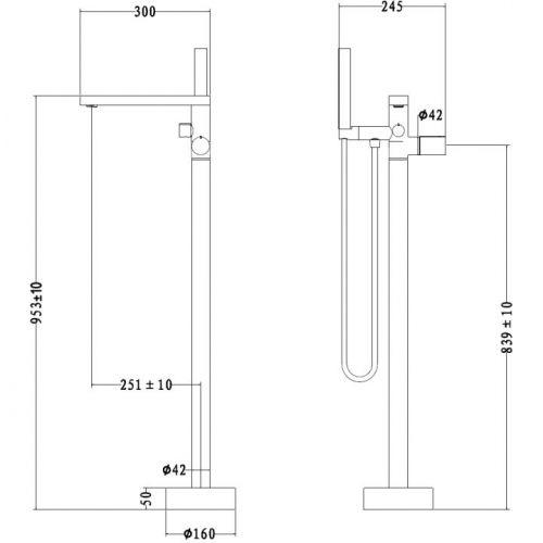 Technical drawing for the Velar Freestanding Bath Shower Mixer