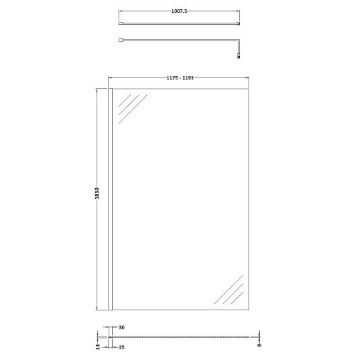 Pacific 1200mm screen technical drawing