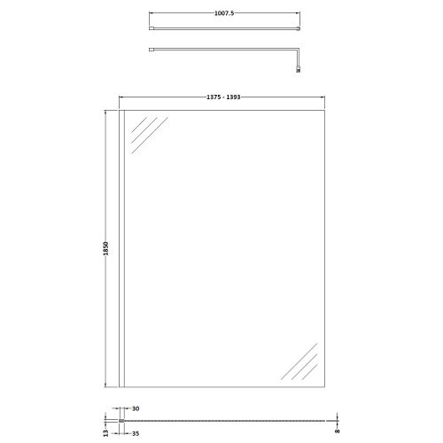 Pacific 1400mm screen technical drawing