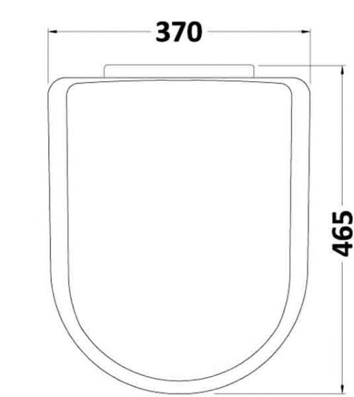 Standard D-Shape Soft Close Toilet Seat - Technical Drawing
