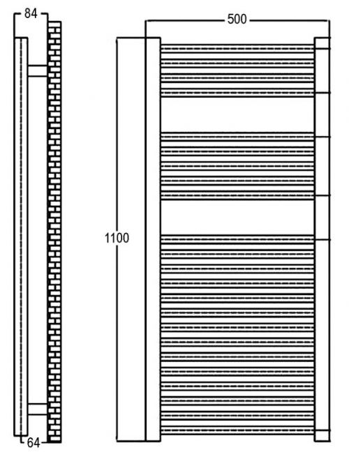 500 x 1100mm Chrome Curved Ladder Heated Towel Rail - Technical Line Drawing
