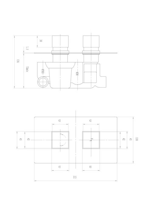 Hudson Reed Kubix Twin Concealed Thermostatic Shower Valve - Technical Drawing